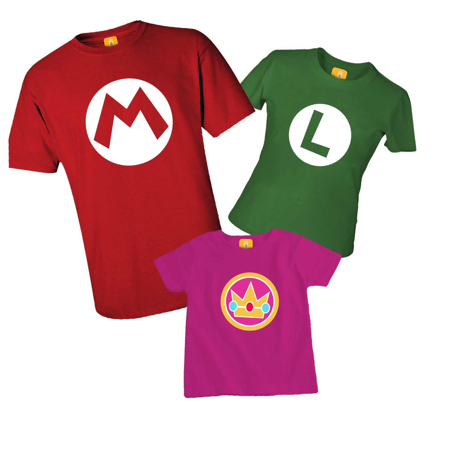 Kit camiseta aniversário - Super mario, Luigi e princesa Peach
