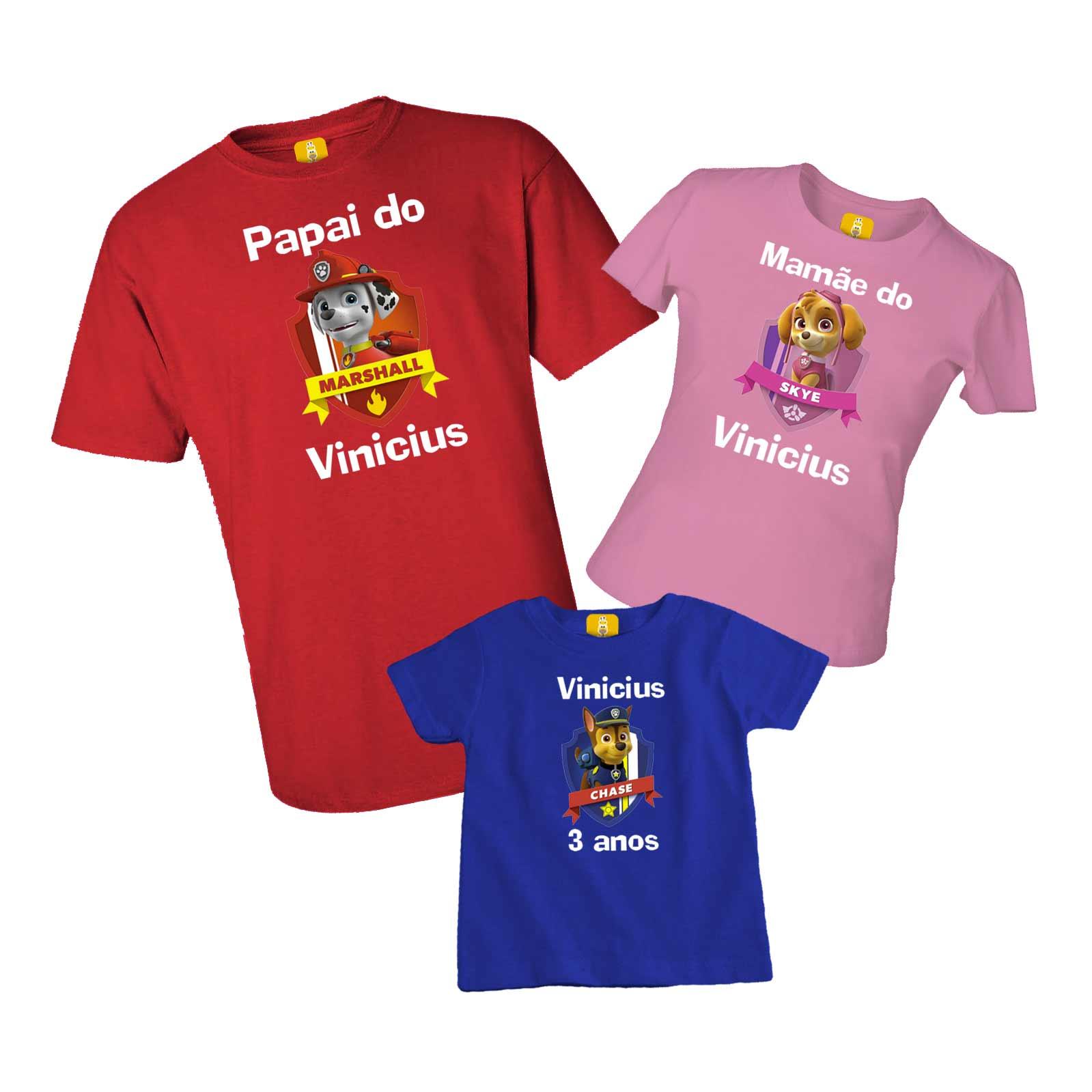 Kit camiseta e body aniversário - Patrulha canina
