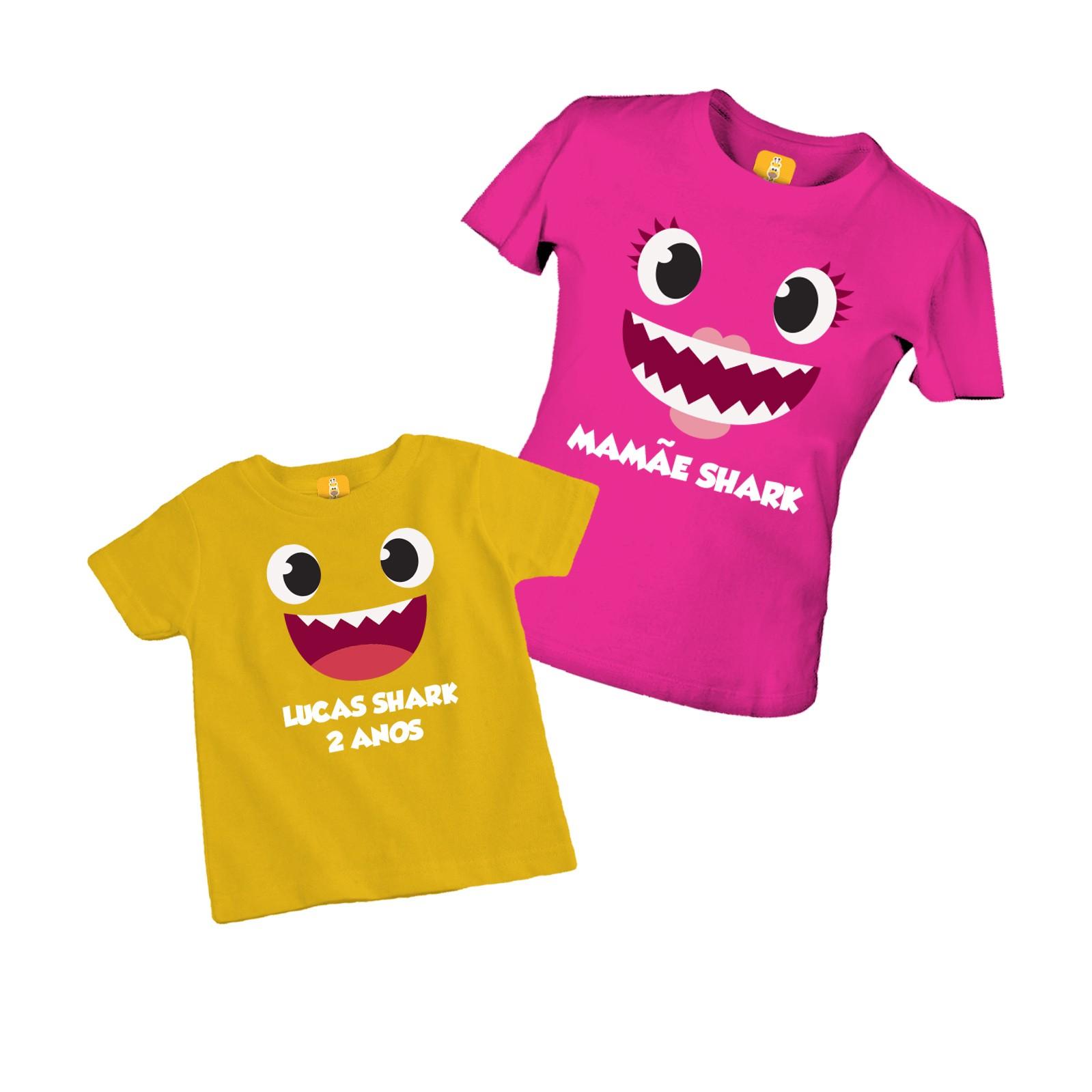 Kit camiseta e body de aniversário com 2 peças - Baby shark