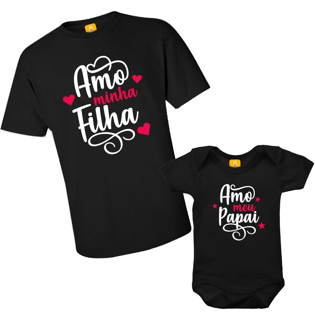 Kit Body e Camiseta - Tal Pai Tal Filho - Amo meu Papai - Preto