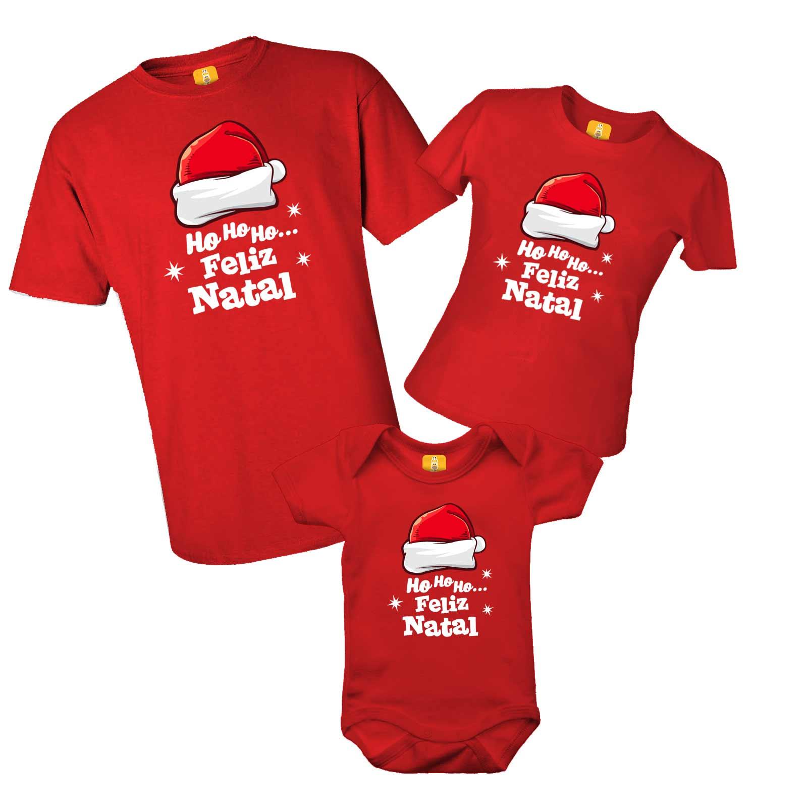 Kit camiseta e body - Feliz Natal Ho Ho Ho