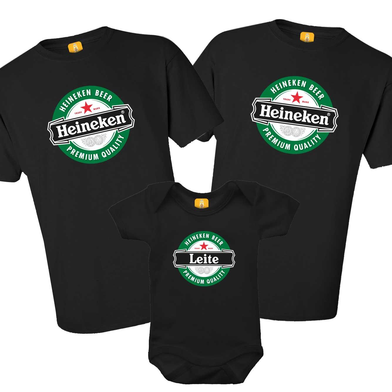 Kit Camiseta e Body - Heineken 3 peças