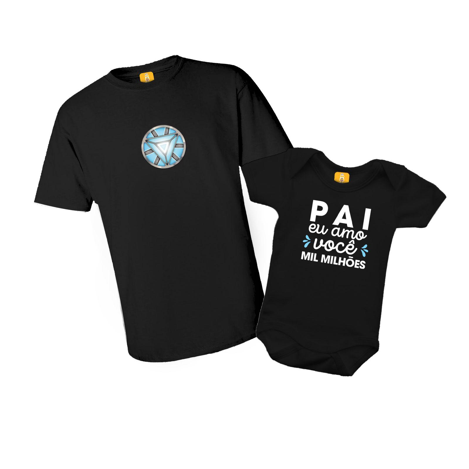 Kit Camiseta e Body - Homem de Ferro e Pai eu Amo você Mil Milhões - 2 Peças