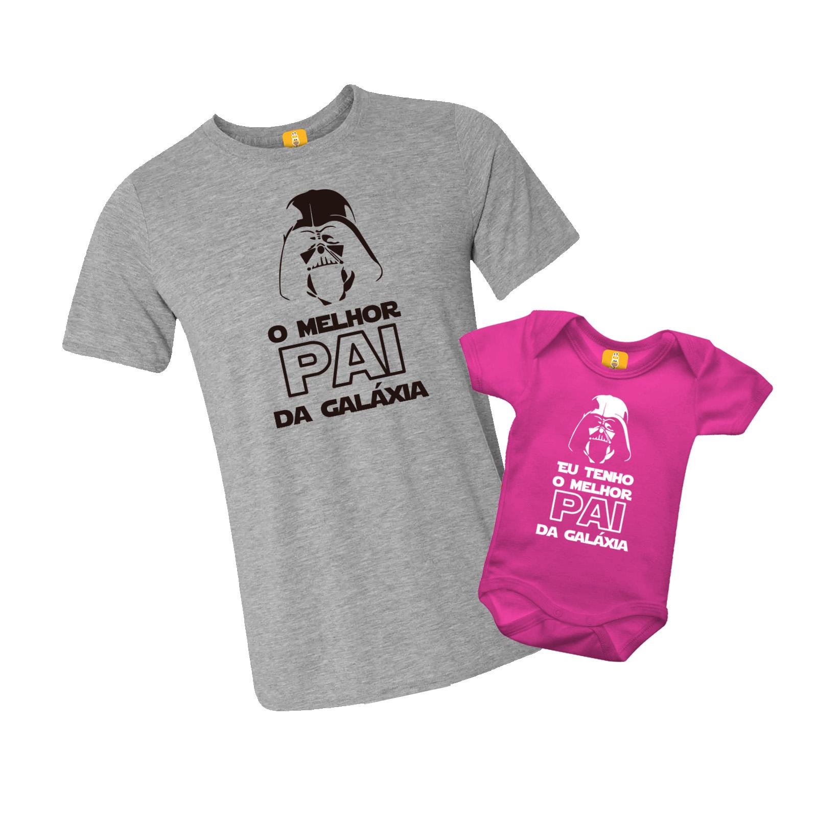 Kit Camiseta E Body Melhor Pai Da Galáxia Star Wars - 2 peças - CORES
