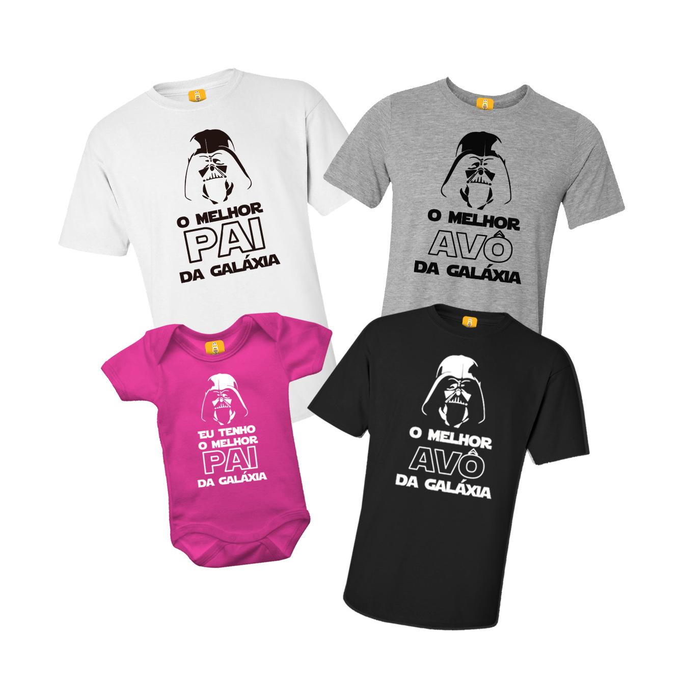 Kit Camiseta e Body Melhor Pai E Avô Da Galáxia Star Wars - 4 Peças CORES