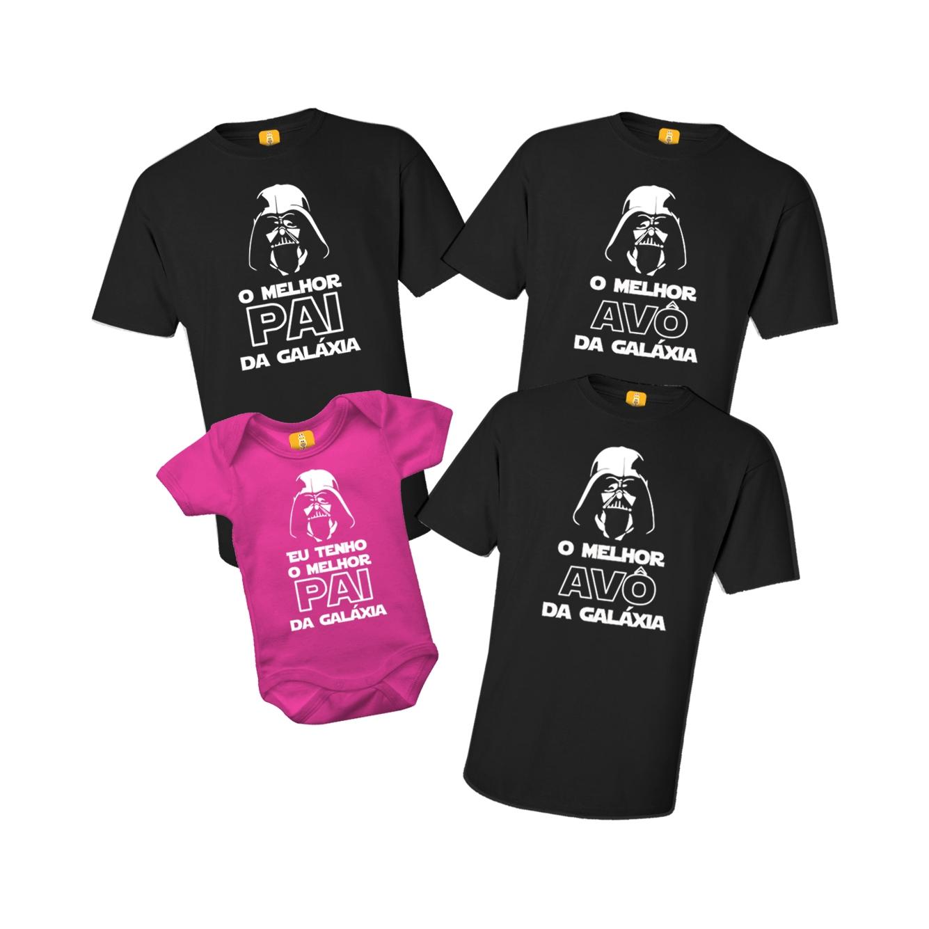 Kit Camiseta e Body Melhor Pai E Avô Da Galáxia Star Wars - 4 Peças