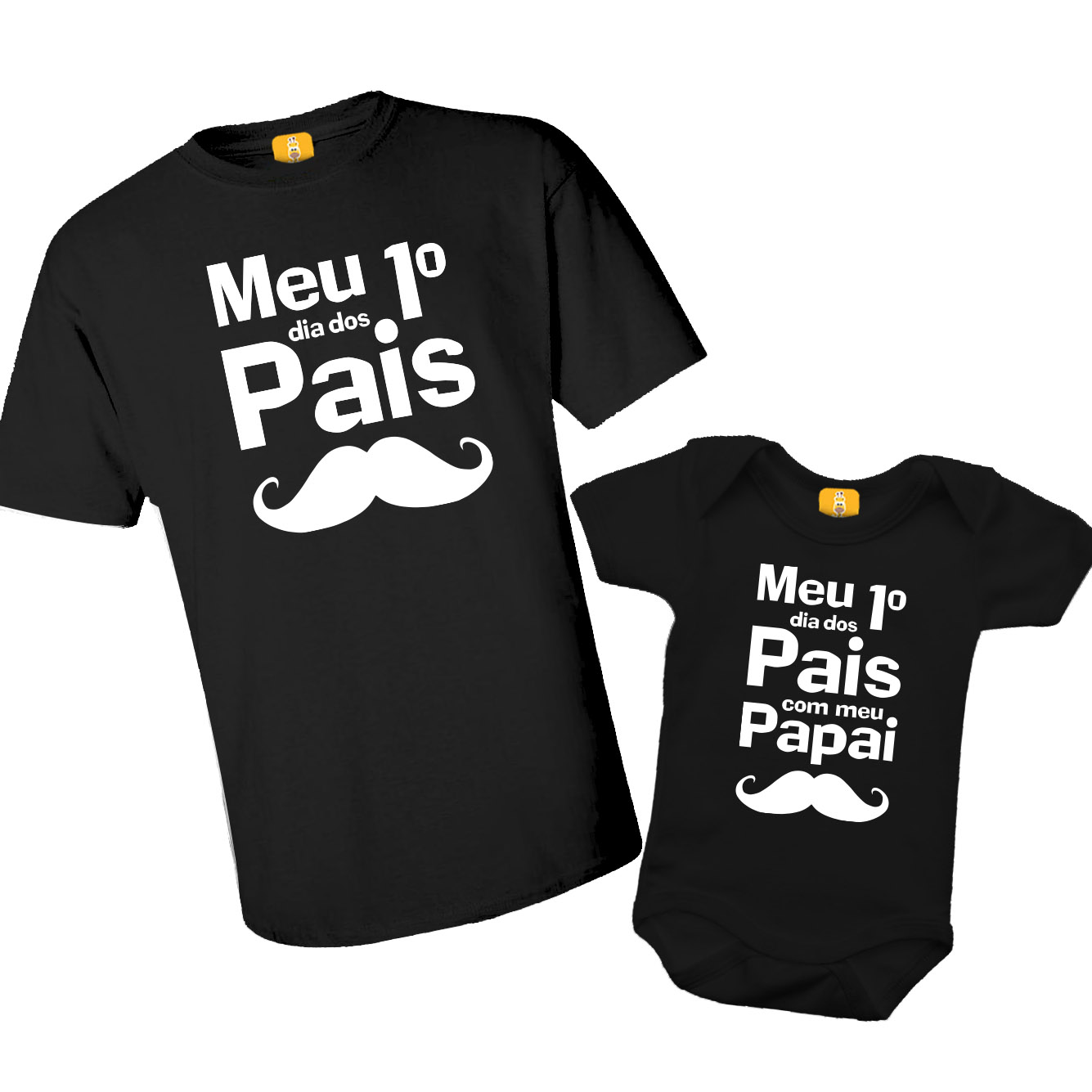 Kit Camiseta E Body Meu Primeiro Dia Dos Pais - Bigode
