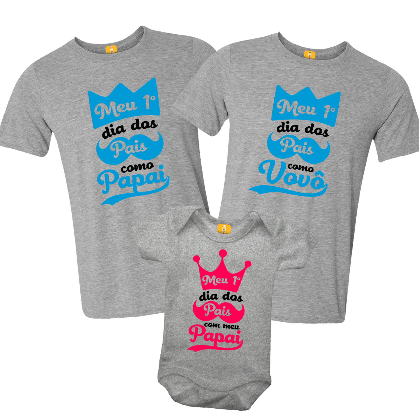 Kit Camiseta e Body - Meu primeiro dia dos Pais como Papai e Vovô - Realeza 3 Peças - CINZA