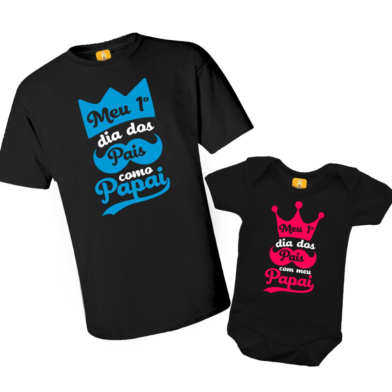 Kit Camiseta e Body - Meu primeiro dia dos Pais como Papai - Realeza 2 Peças - PRETO