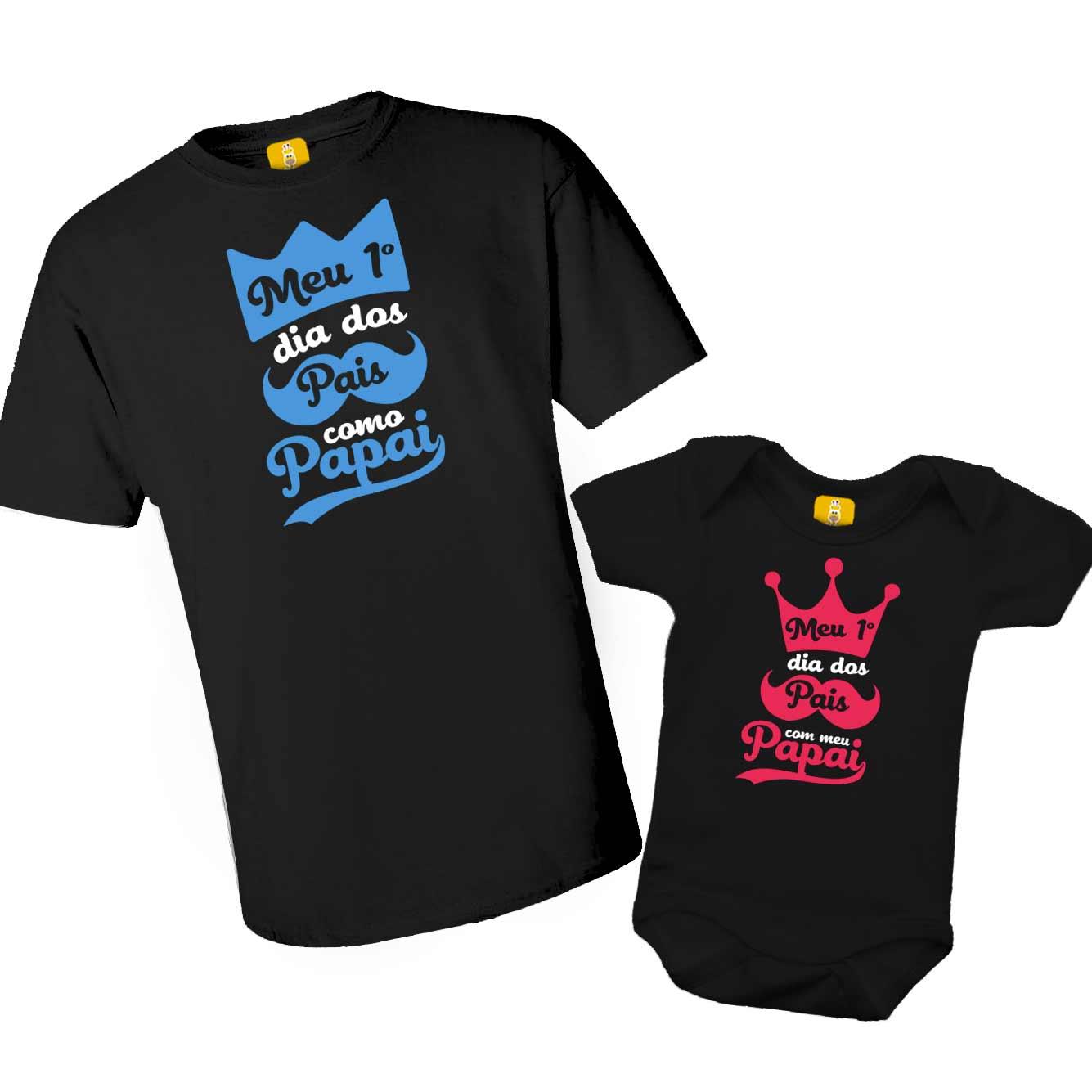 Kit Camiseta e Body - Meu primeiro dia dos Pais como Papai - Realeza 2 Peças