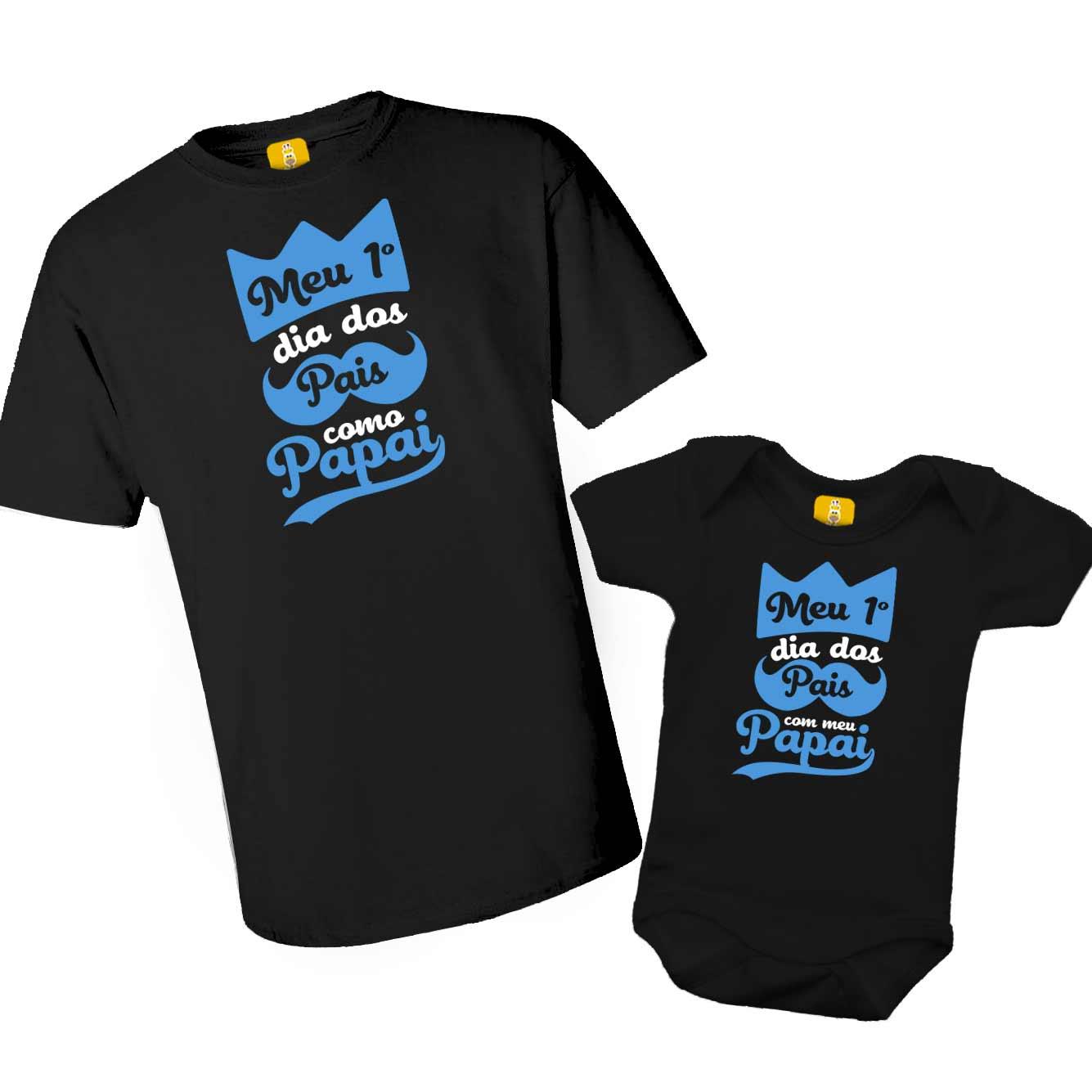 Kit camiseta e body - Meu primeiro dia dos pais Realeza