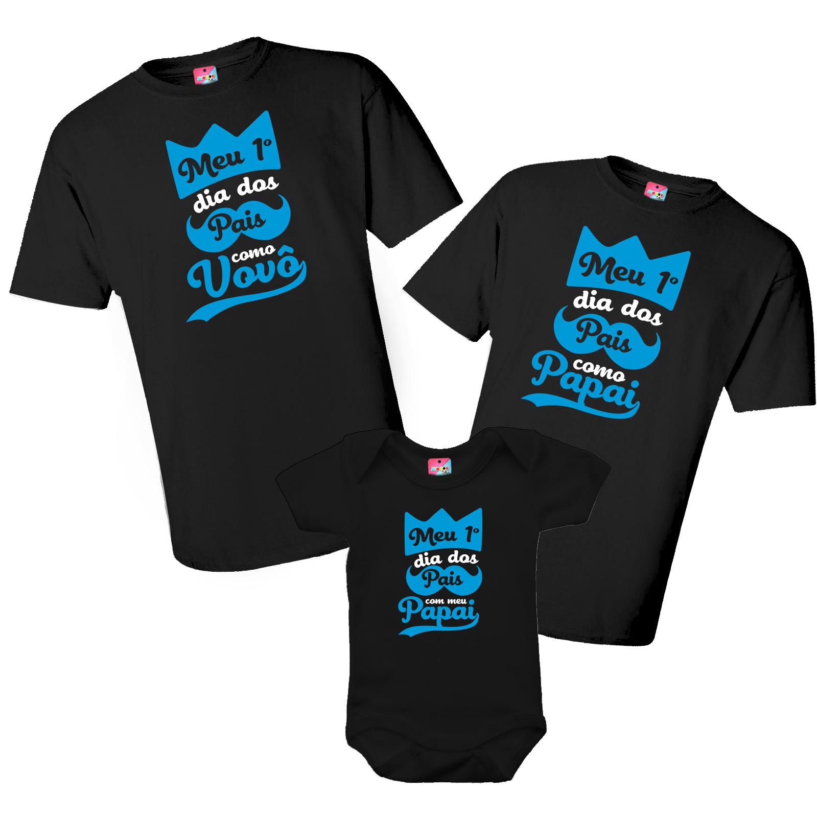 Kit Camiseta e Body - Meu primeiro dia dos Pais como Papai e Vovô - Realeza 3 Peças