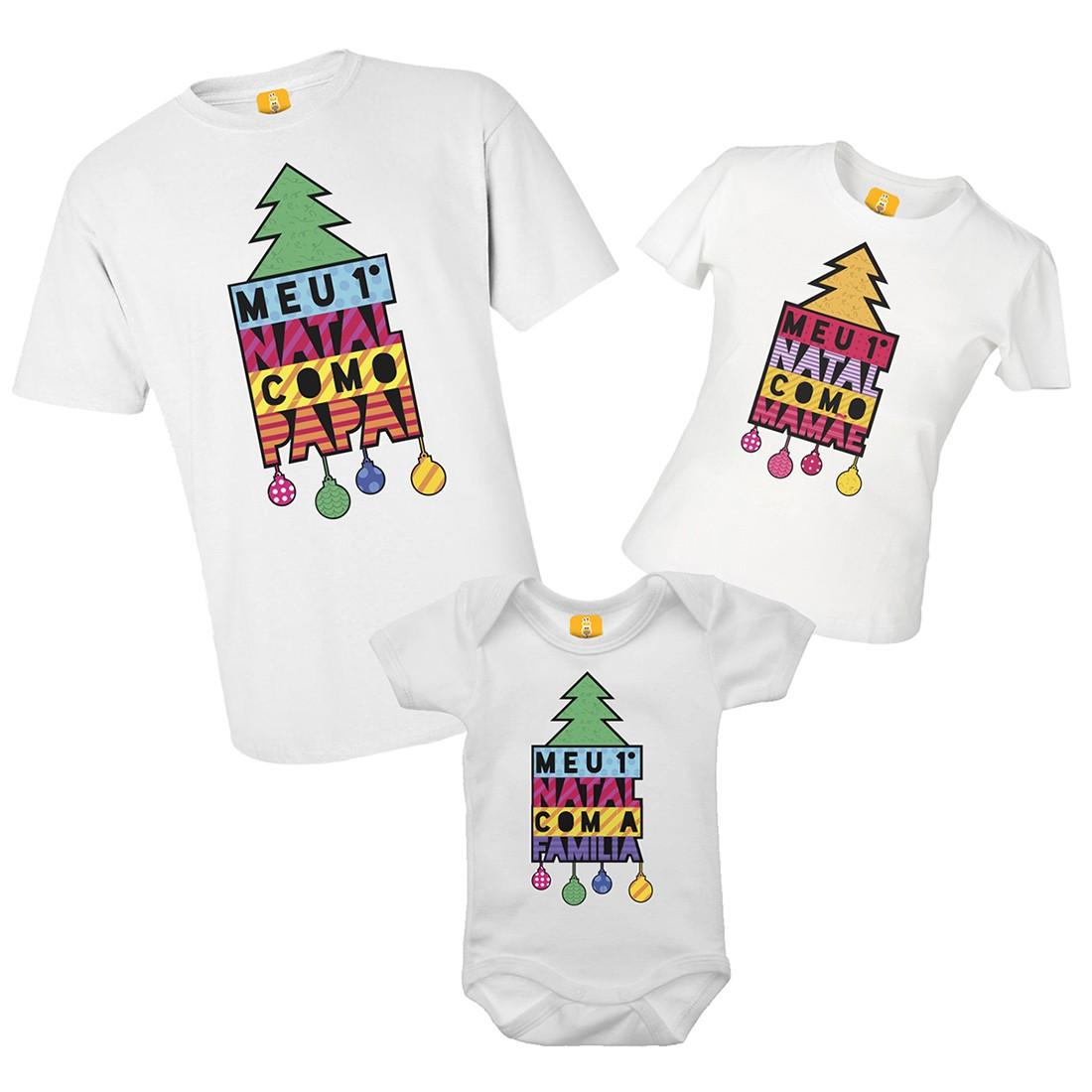 Kit camiseta e body - Meu primeiro natal árvore colorida