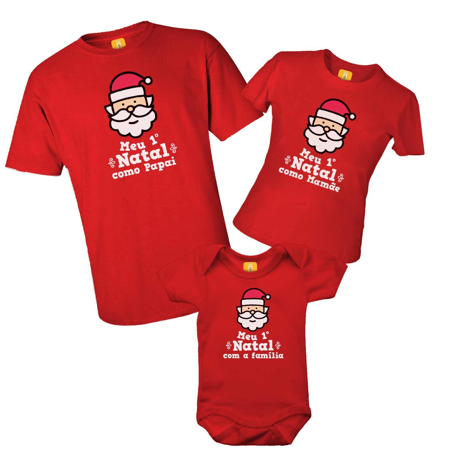 Kit camiseta e body - Meu Primeiro Natal papai noel
