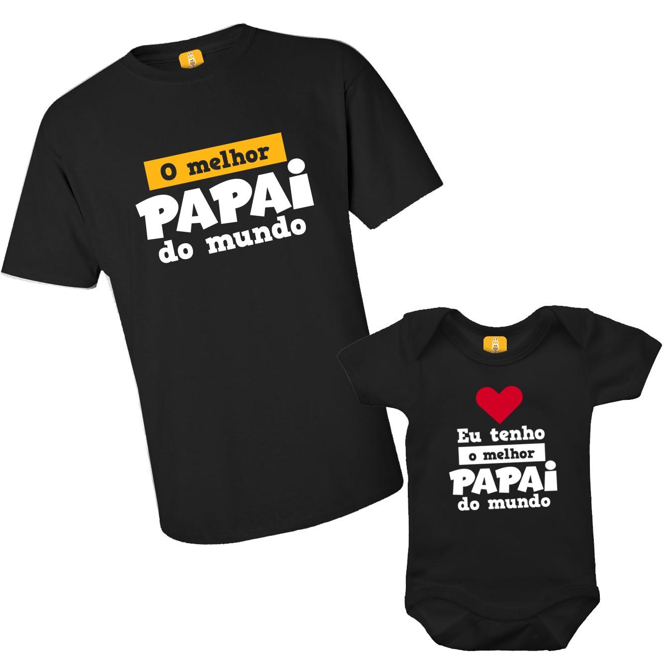 Kit camiseta e body O melhor pai do mundo com 2 peças