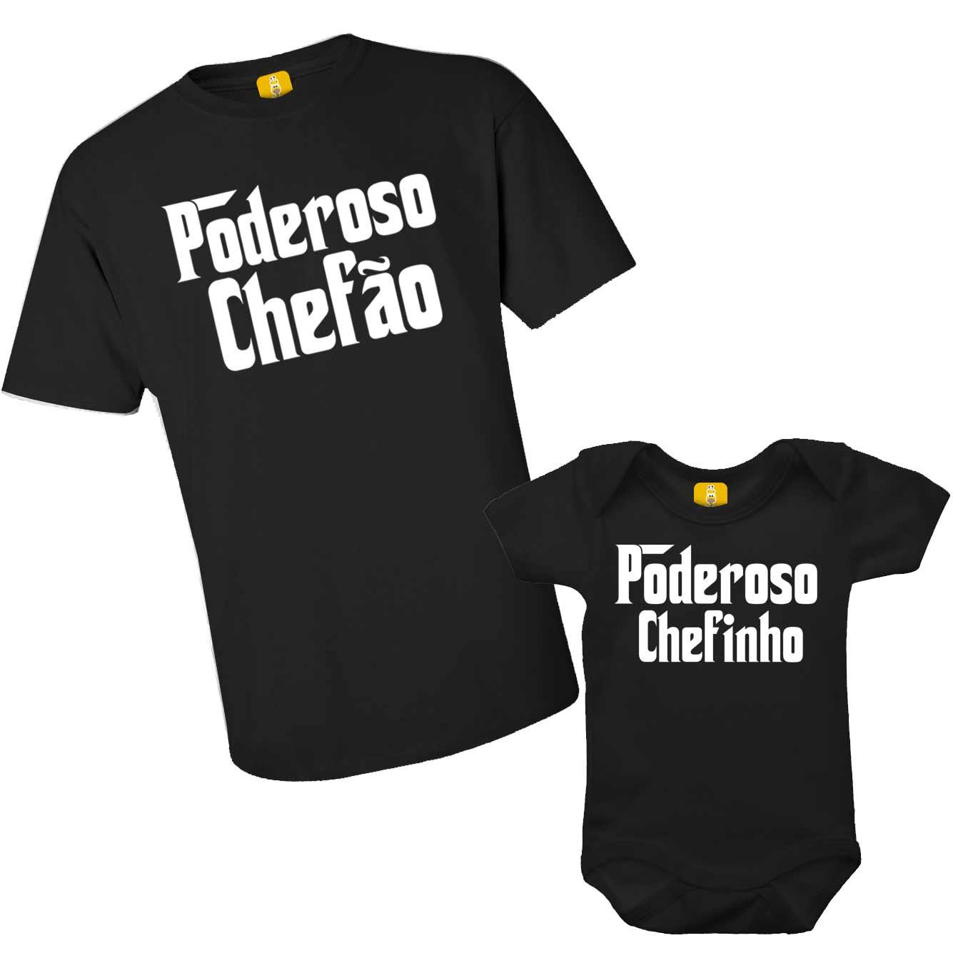 Kit Camiseta e Body - Tal Pai Tal Filho - Poderoso Chefão e Poderoso Chefinho