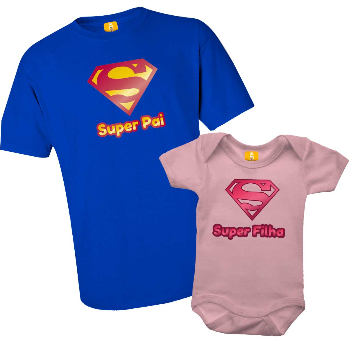 Kit camiseta e body - Super Pai e Super Filho (a)