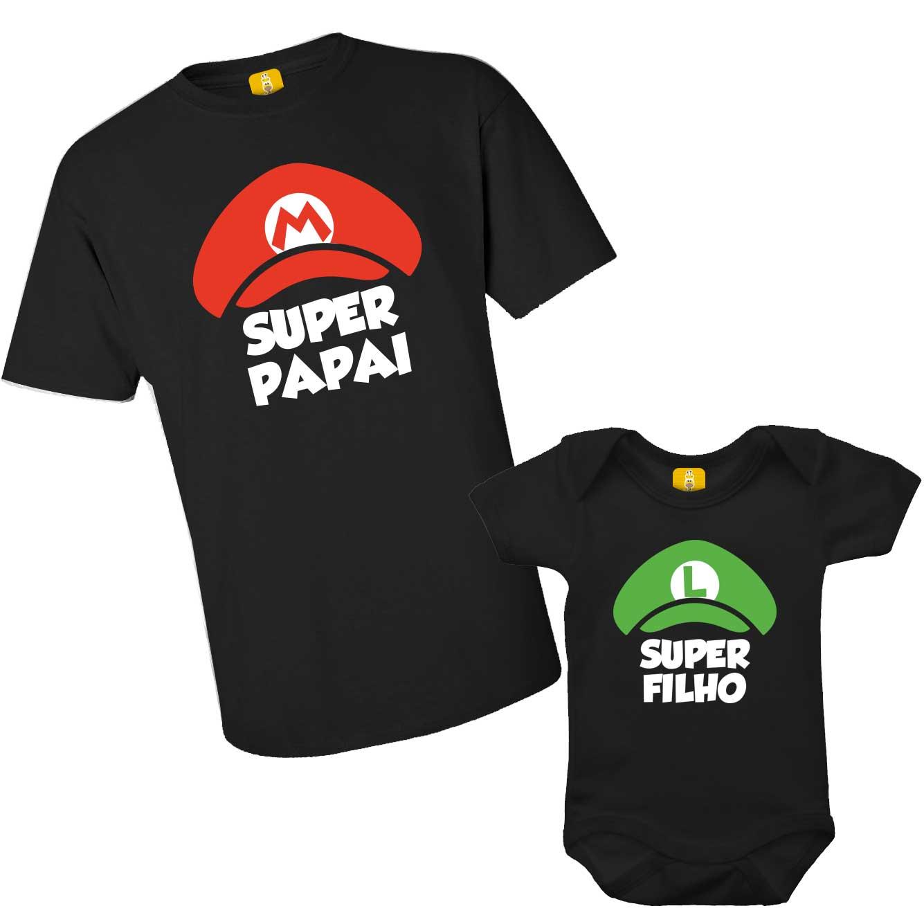 Kit camiseta e body - Super papai e super filho Mario Luigi