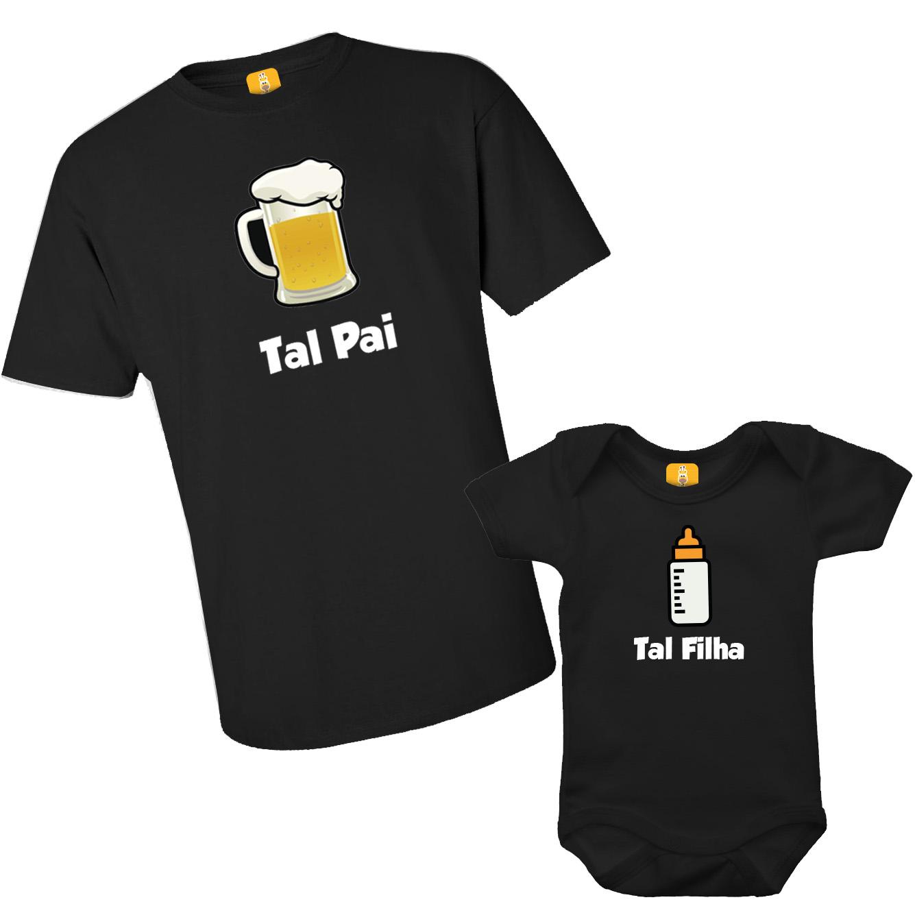 Kit Camiseta e Body Tal Pai Tal Filha - Chopp E Mamadeira