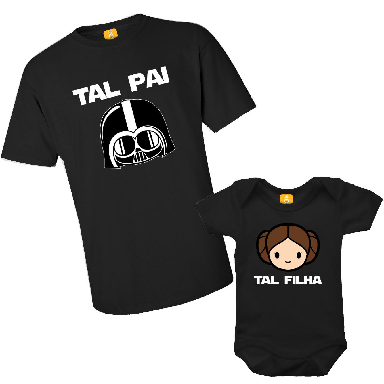 Kit Camiseta e Body Tal Pai Tal Filha - Darth Vader e Princesa Leia - Star Wars