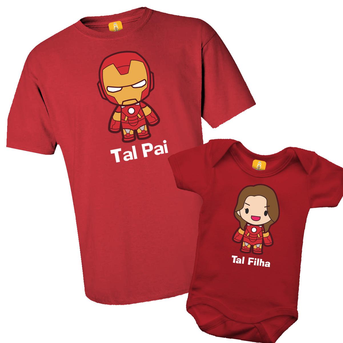 Kit Camiseta e Body - Tal Pai Tal FILHA - Homem de Ferro - 2 Peças