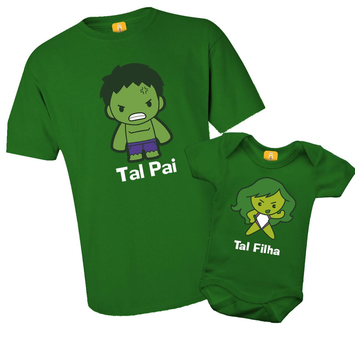 Kit Camiseta e Body - Tal Pai Tal Filha - Incrível Hulk