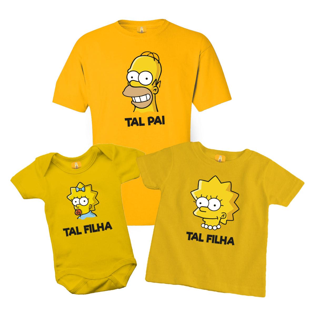 Kit Camiseta e Body - Tal Pai Tal Filha - Simpsons Lisa e Meg