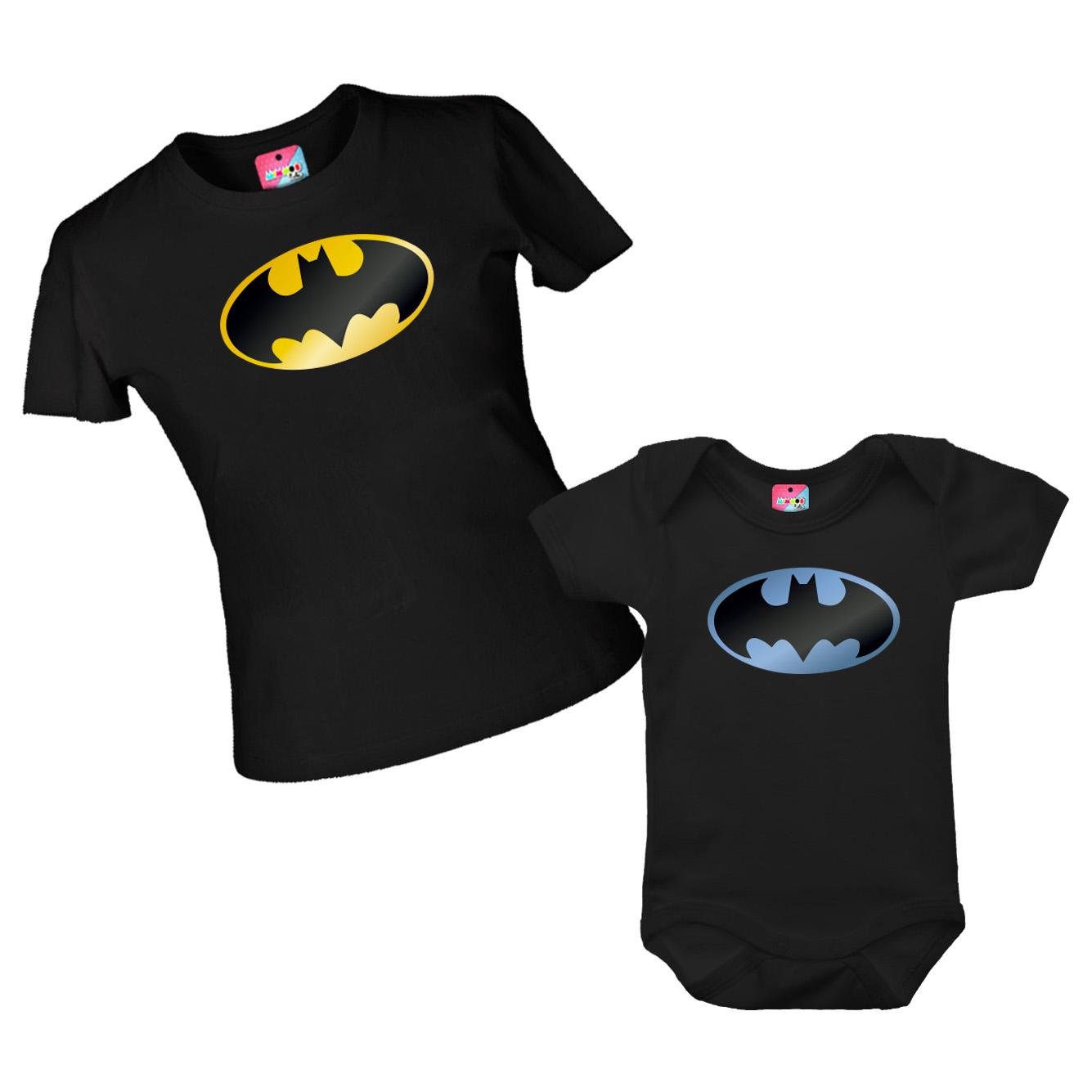 Kit Camiseta e Body - Tal Pai Tal Filho - Símbolo do Batman