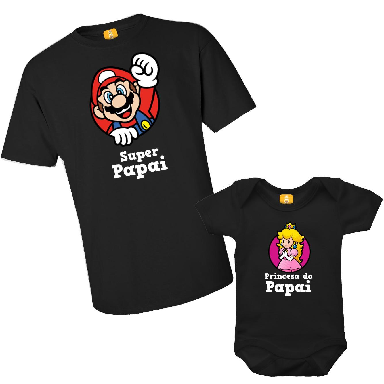 Kit camiseta e body - Tal Pai Tal filho Super Mario e Princesa do papai