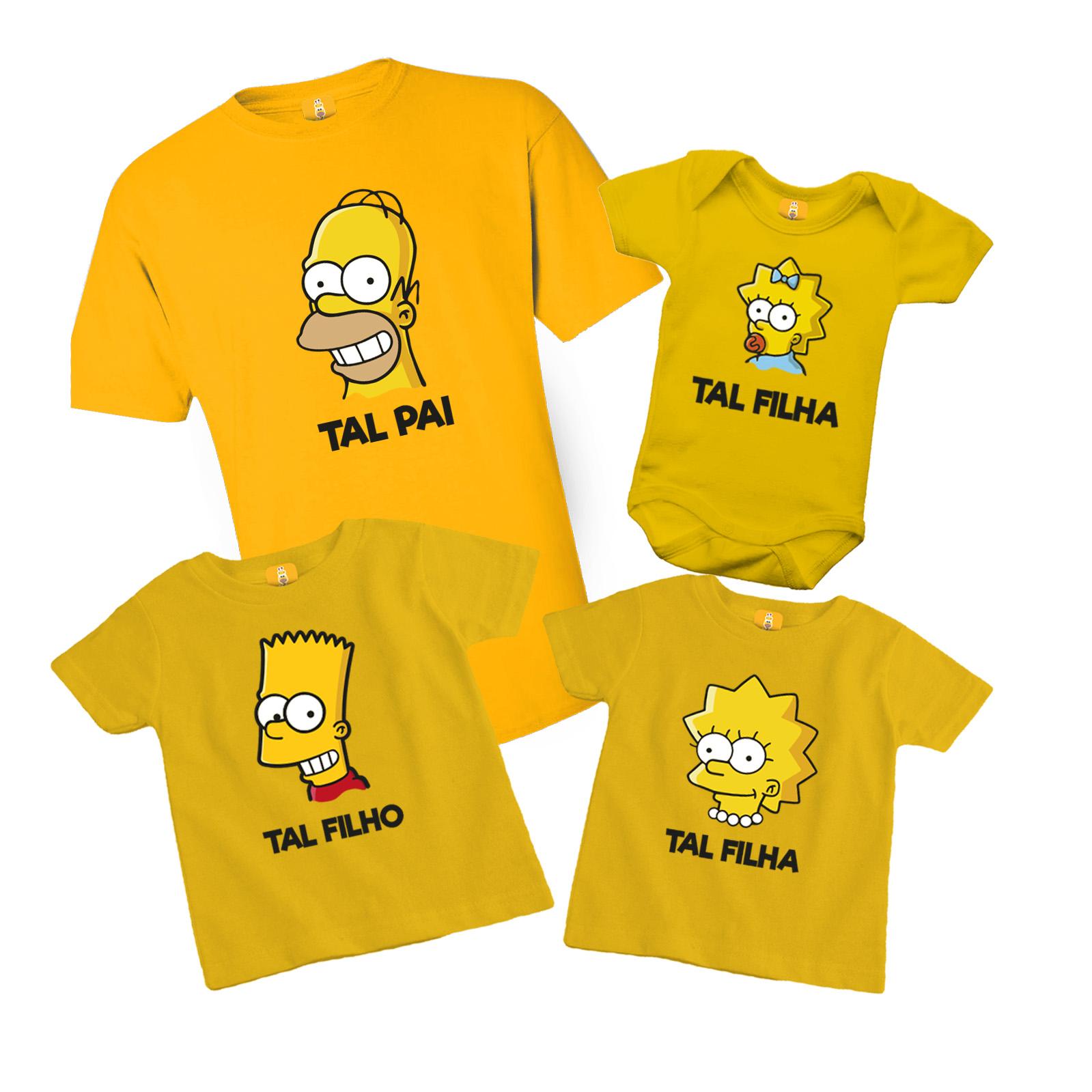 Kit Camiseta e Body - Tal Pai Tal Filhos - Simpsons Bart, Lisa e Meg