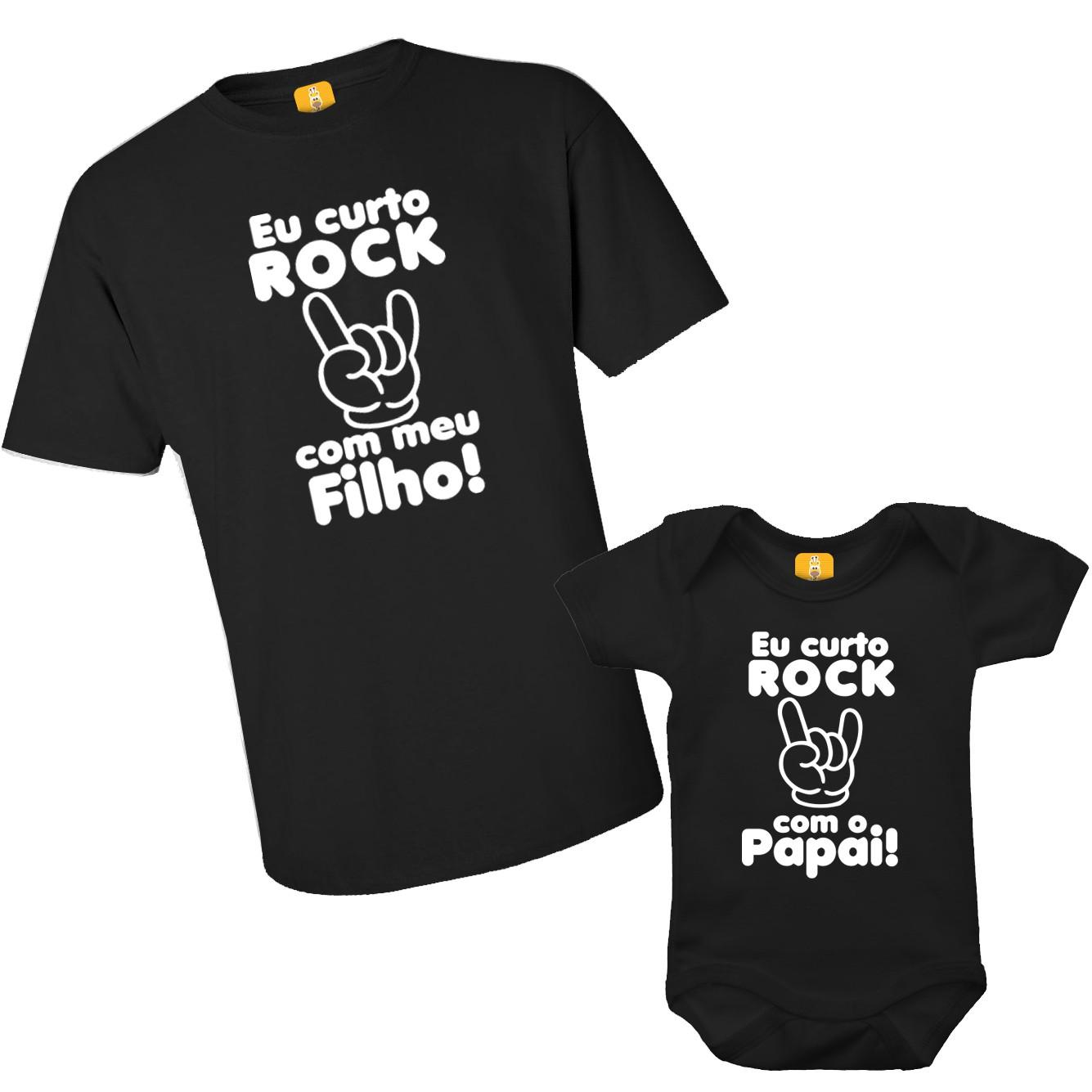 Kit camiseta - Eu curto Rock com o papai