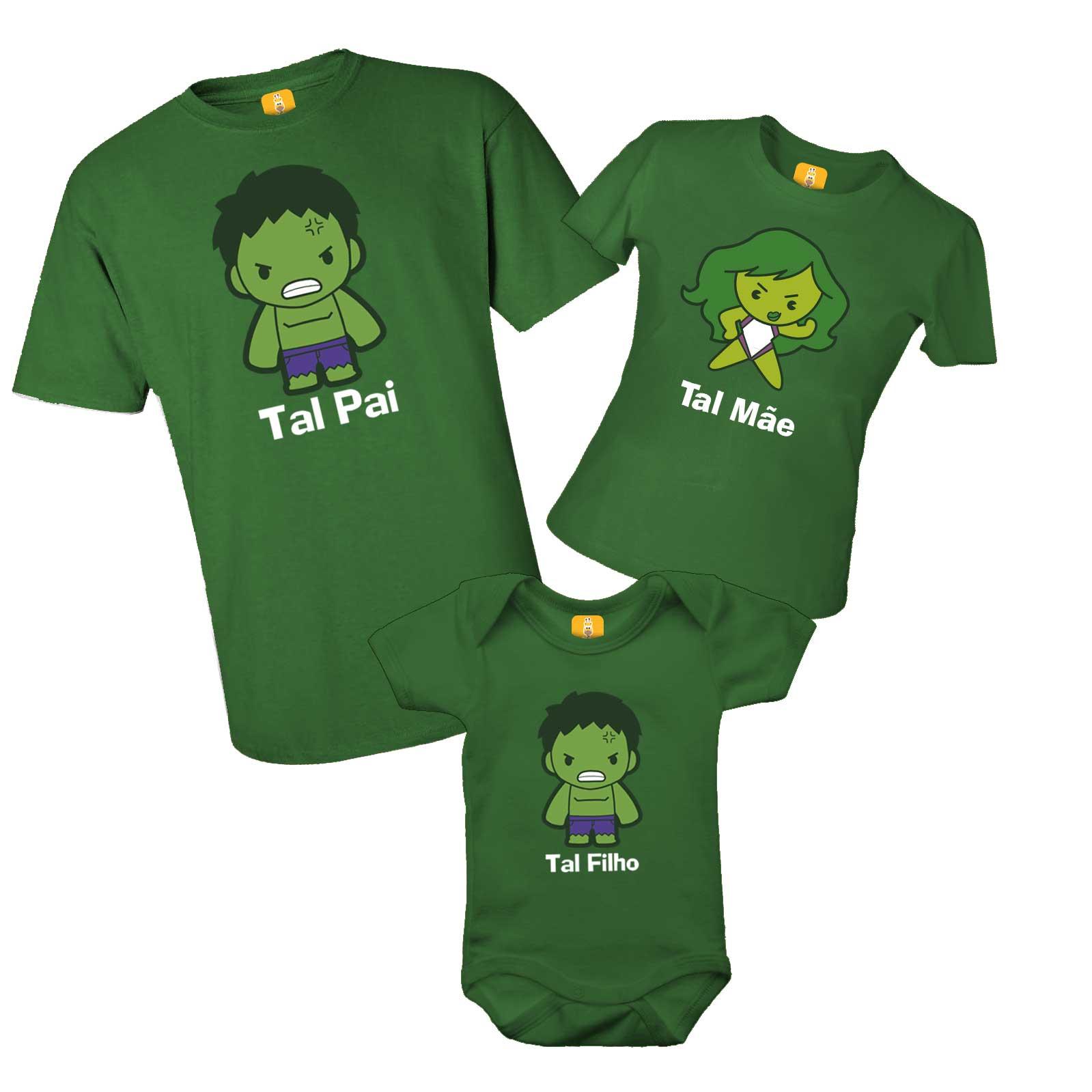 Kit camiseta família do Hulk com 3 peças
