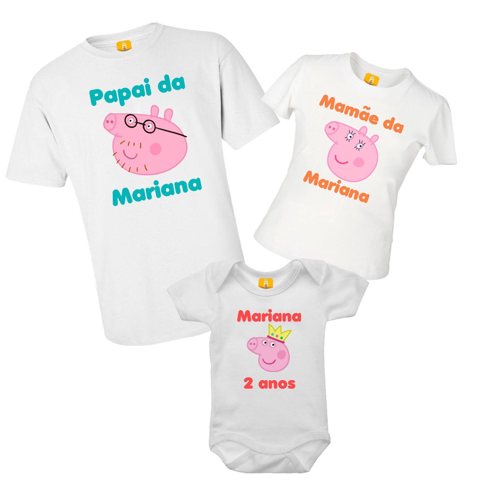 Kit camiseta para aniversário - Peppa pig