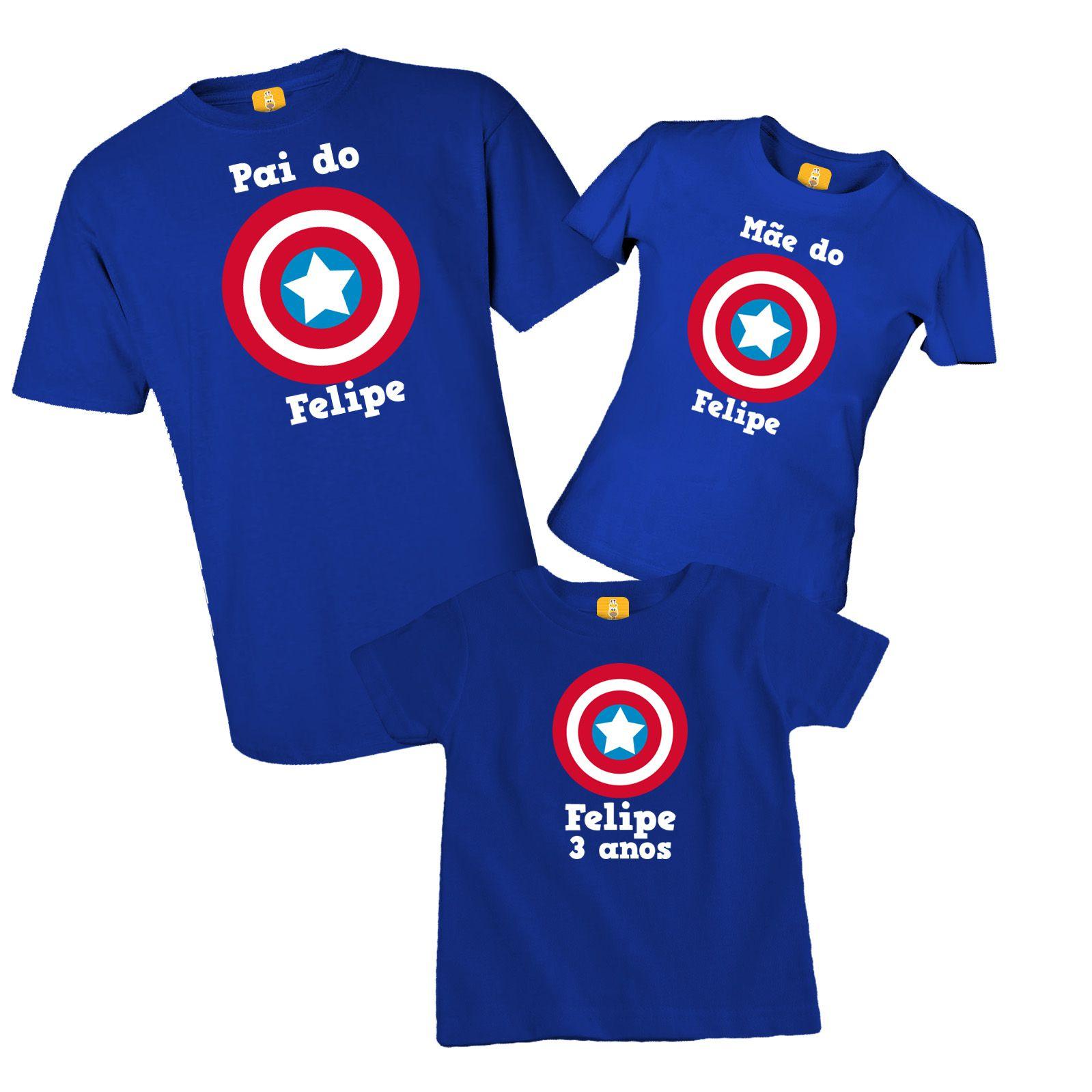 Kit camiseta para festa - Capitão america