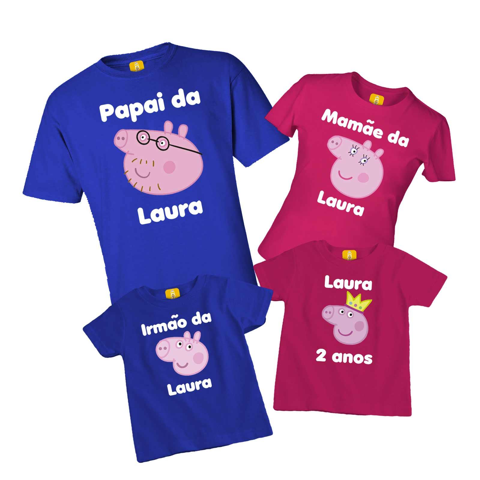 Kit camiseta para festa da Peppa pig