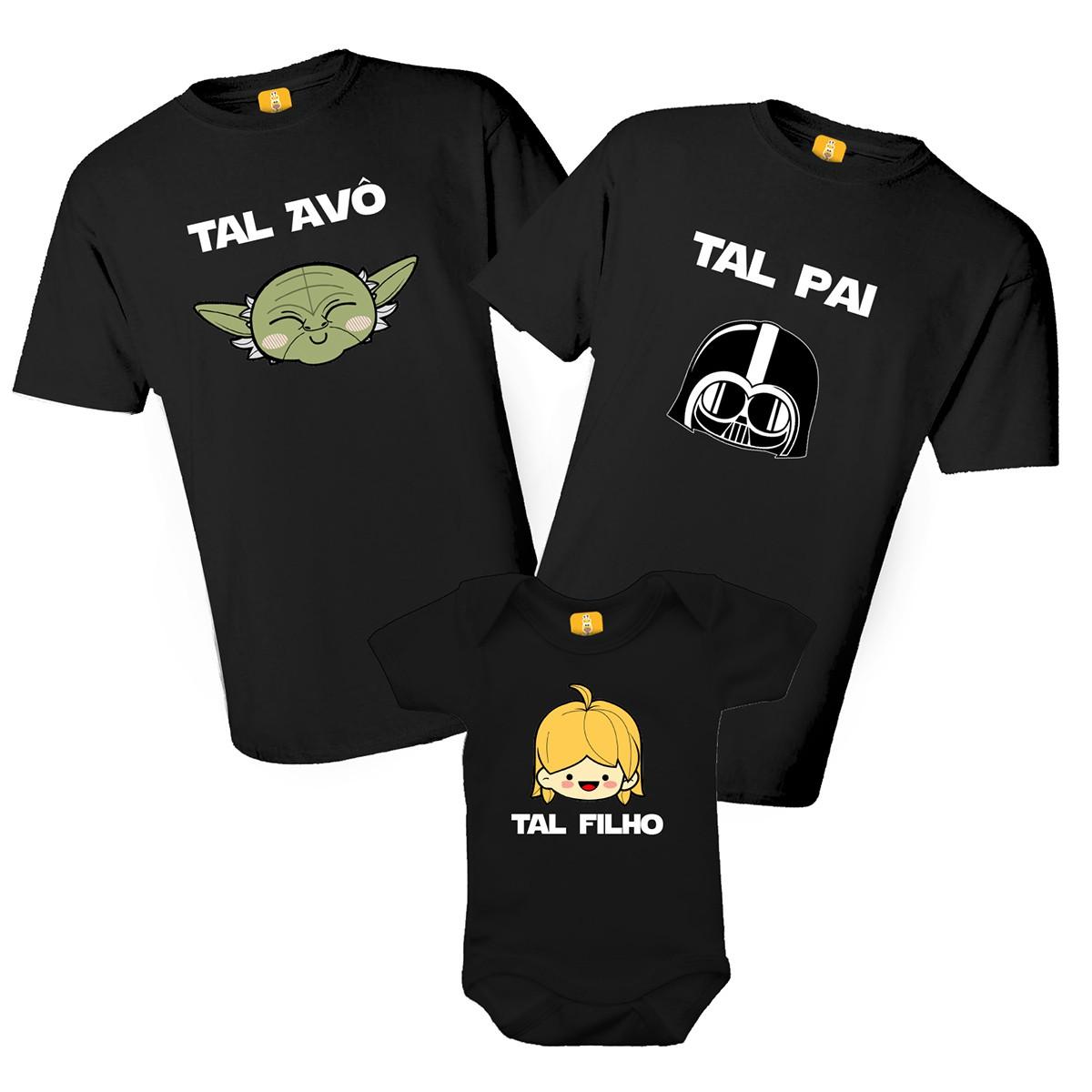 Kit camiseta Star Wars Tal Pai Tal Filho tal Avô