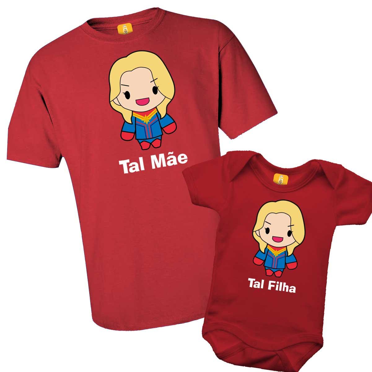 Kit camiseta tal mãe, tal filha - Capitã Marvel