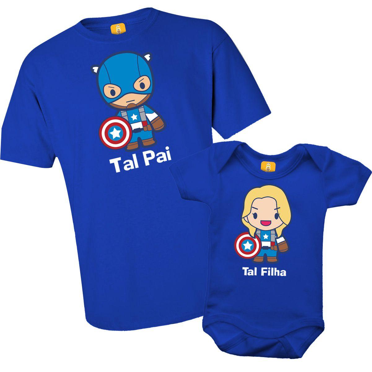 Kit camiseta - Tal pai, Tal filha Capitão America