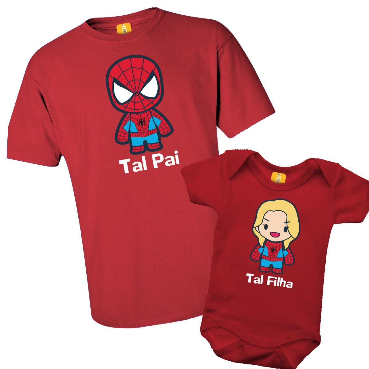 Kit camiseta - Tal pai, Tal filha Homem aranha