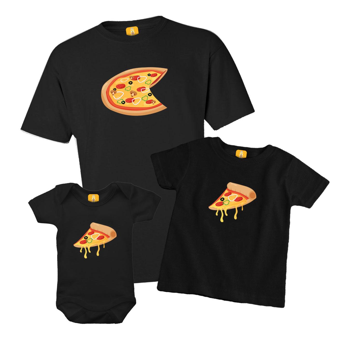 Kit Camisetas e Body - Tal Pai Tal Filhos - Pizza 3 Peças
