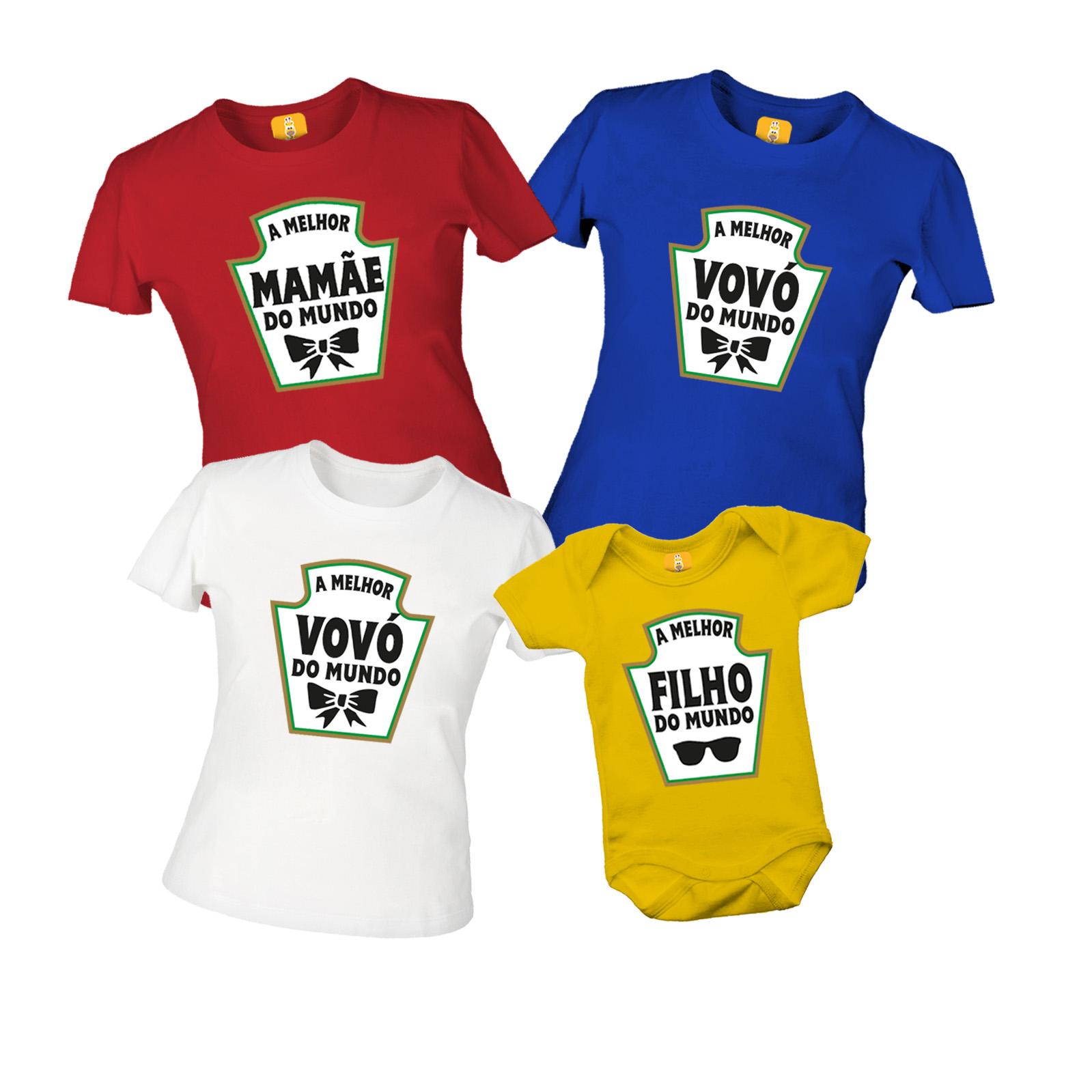 Kit De Camiseta Avó Mãe Filho (a) - Heinz - Ketchup, Mostarda e Maionese - 4 Peças