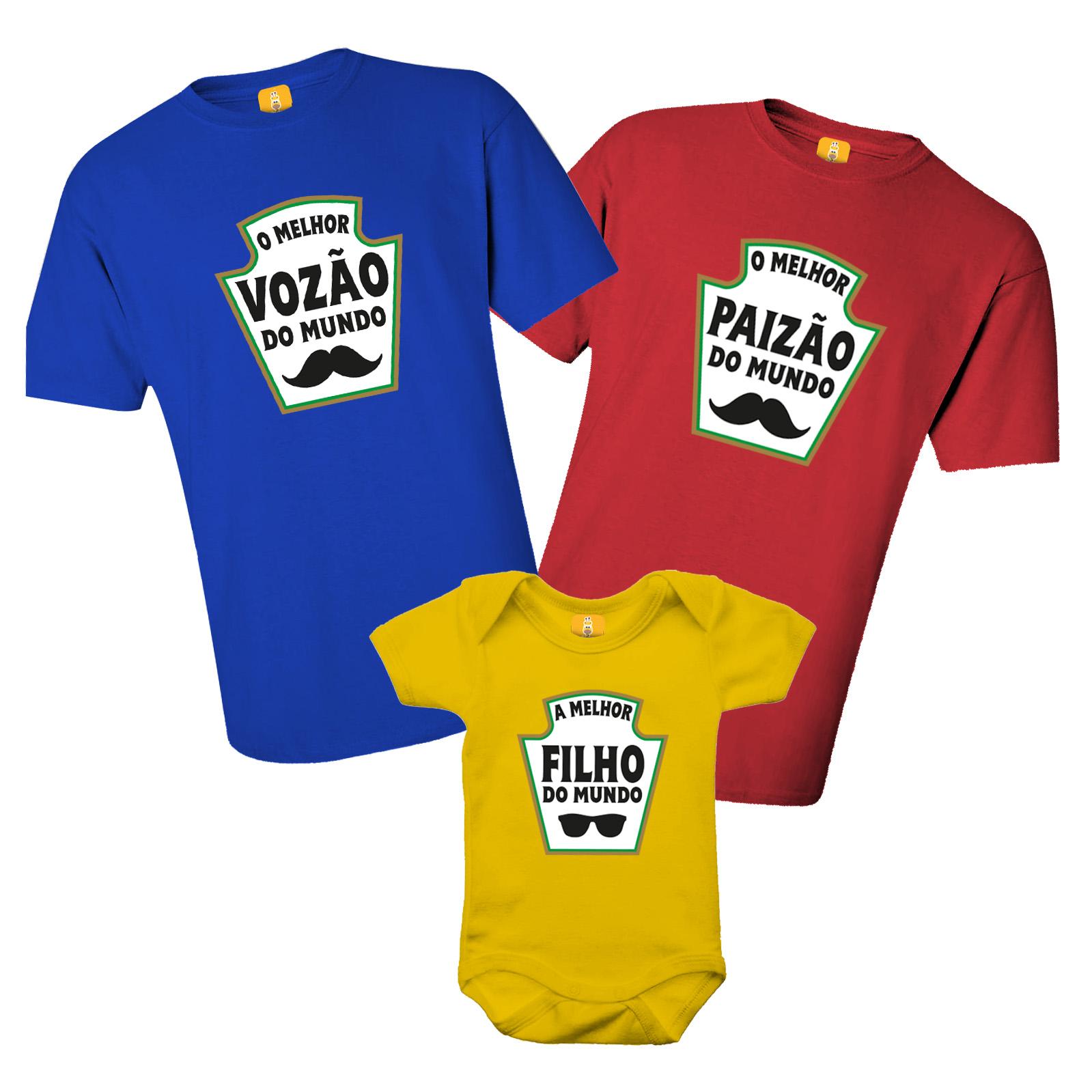 Kit De Camiseta Avô Pai Filho (a) - Heinz - Ketchup, Mostarda e Maionese