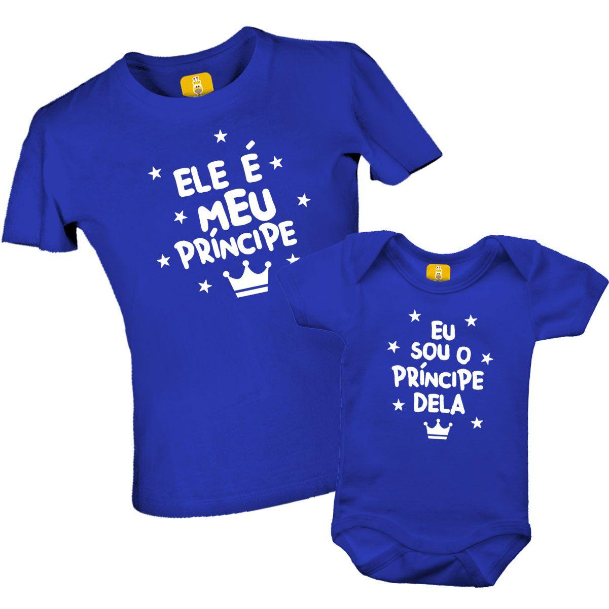 Kit de camiseta e body  Ele é meu príncipe