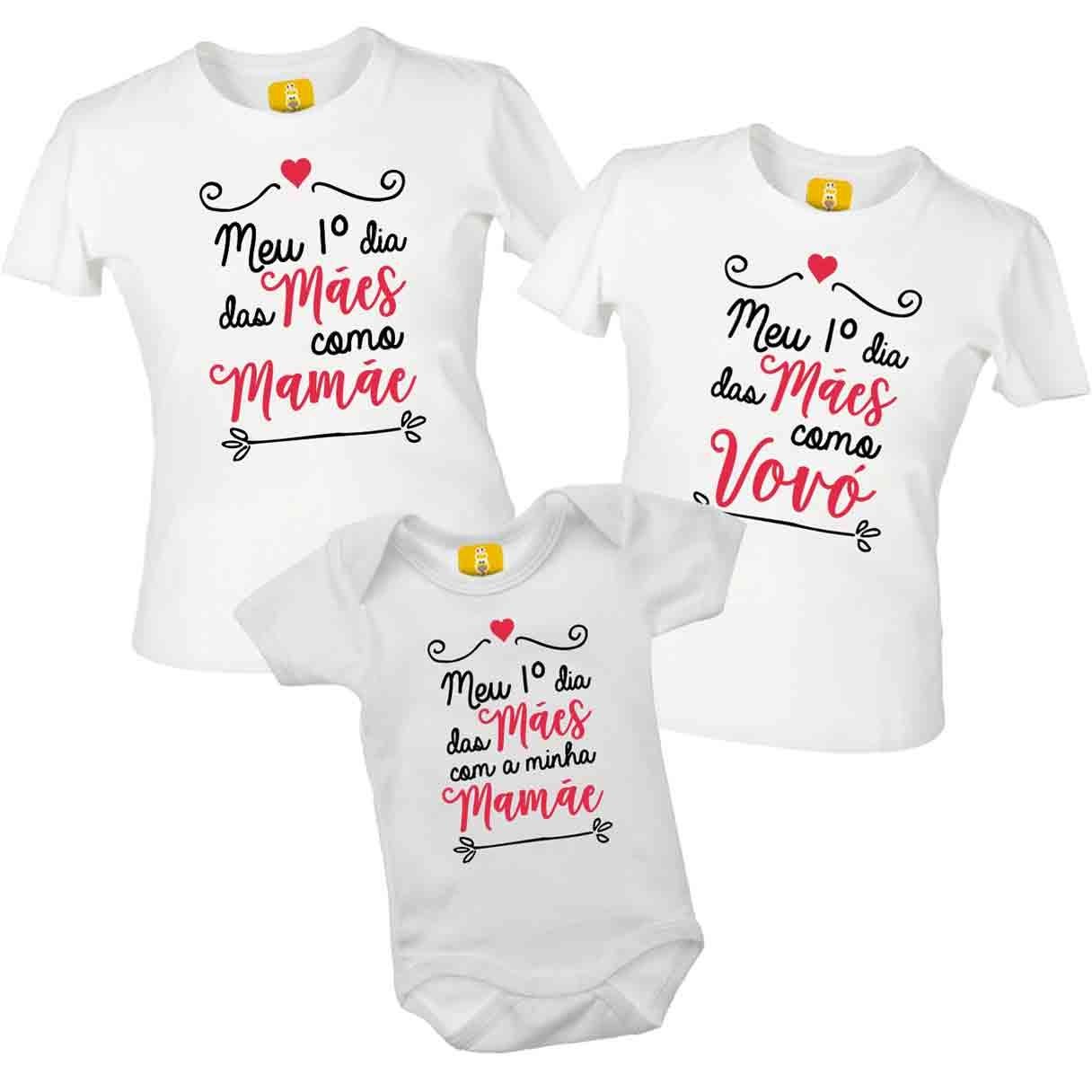 Kit de camiseta Meu primeiro dia das mães - 3 peças