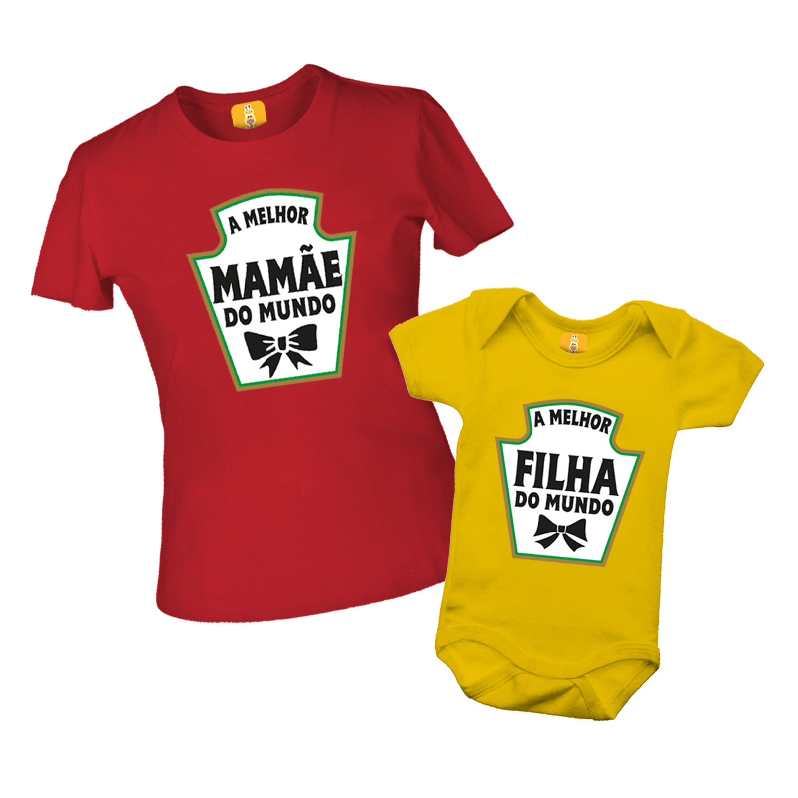 Kit De Camiseta Tal Mãe Tal Filho (a) - Heinz - Ketchup e Mostarda