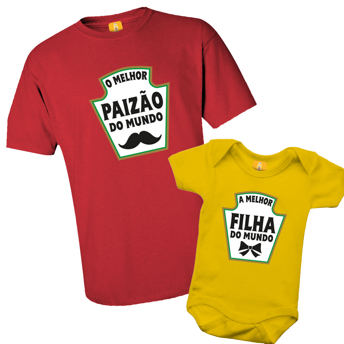 Kit De Camiseta Tal Pai Tal Filho (a) - Heinz - Ketchup e Mostarda