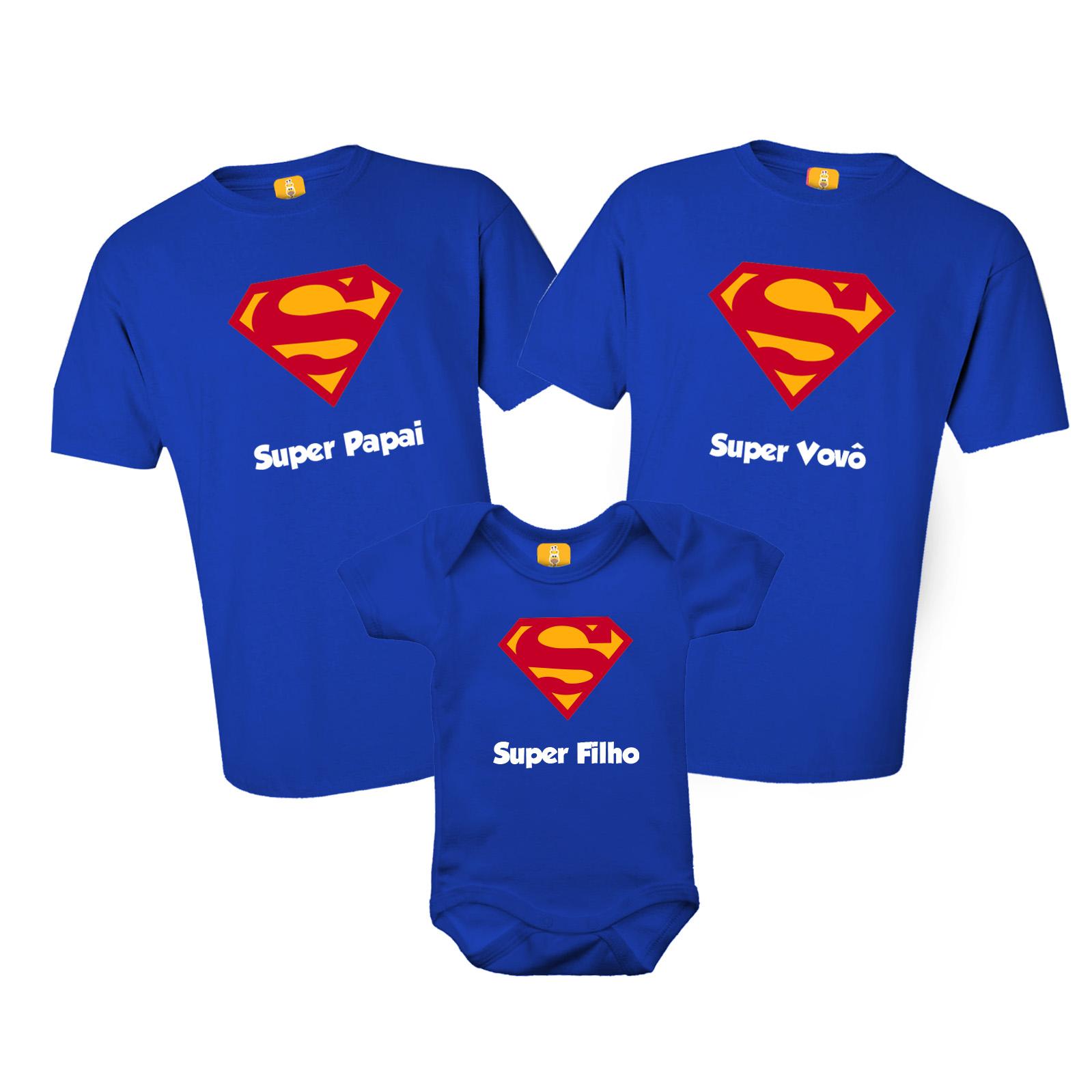 Kit de Camisetas do Superman - Super Papai Super Vovô e Super Filho