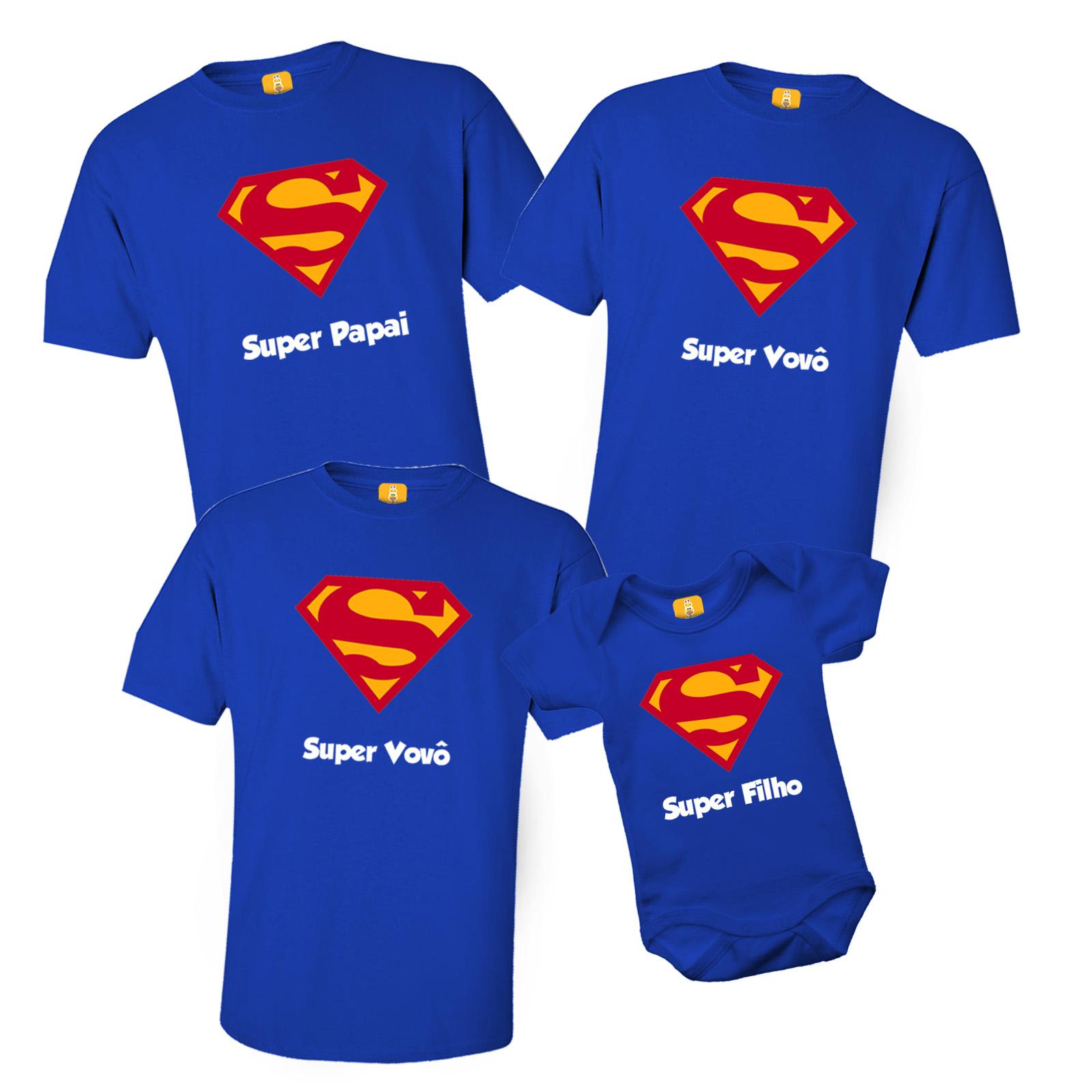 Kit de Camisetas do Superman - Super Papai Super Vovô e Super Filho - 4 peças