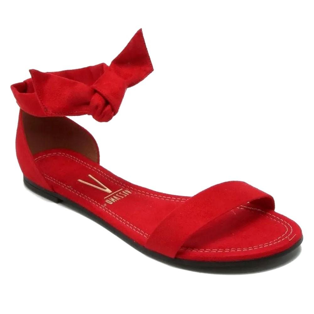 Sandália Rasteira Camurça Vermelha  - Vizzano