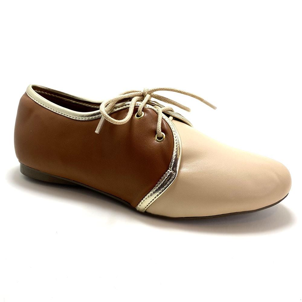 Sapato Oxford Napa Amêndoa e Caramelo Vegano - Strax